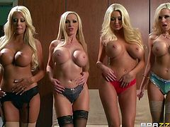 Make sure you check out this amazing group sex scene where this lucky bastard gets to nails all of these sexy blonde milfs that end up covered by his cum.