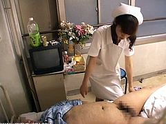 Watch this horny Japanese nurse striping her clothes off and sucking fat hairy cock of her sick patient and riding it hard till he cums.She knows how to cure sickness, Luckily we caught every thing for you!