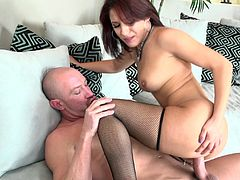 Seductive bootyful skank sucks massive dick and gets her meaty pussy fucked mish. She rides it on top and gets plowed in a sideways pose until buddy sprays her face with hot sperm.