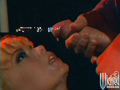 Get a load of this hot vintage video where the sexy blonde Jenna Jameson jerks this guy's thick cock until her face's covered by warm semen.