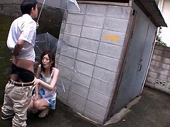 Cock-hungry Asian slut Miki Yoshimura is having fun with a guy outdoors. She sucks and rubs his weiner ardently and soon manages to milk it dry on her hands.