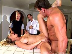 Check out this hardcore scene and watch the slutty Bree Brooks being fucked on top of a kitchen counter until her mouth's filled by semen while her man watches.