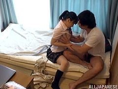 Take a look at this hardcore scene where this naughty Japanese teen jerks a guy off before being eaten out and fucked.