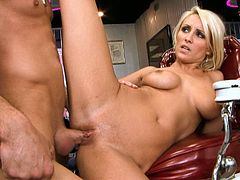 Lexi Swallow has a pretty face but don't let her face fool you. This chick is a total slut and she fucks every time she gets the chance. Cock crazed blondie is the boss when it comes to sex. She rides her lover's dick in reverse cowgirl position. Then he fucks her tight pink pussy in missionary position.