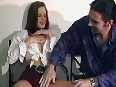 Retro video with a brunette babe getting fucked in her bald cunt