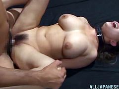 Have a look at this great hardcore scene where this busty Asian babe is nailed by this guy as she moans and rides him.