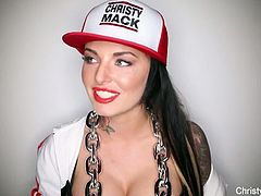 Sexy tattoed babe Christy Mack is wearing her swagger outfit and start to tease and talking dirty. Watch as she slowly takes her top of to reveal her big tits!