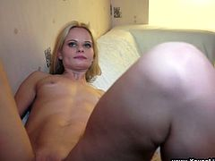 Lovely blonde Marina is trying to please her BF Misha. The cutie kneels in front of the dude and drives him crazy with a passionate blowjob.