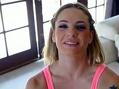 This bewitching blonde with sparkling eyes has no clue about how to handle her lover's dick. She sucks his dick with great enthusiasm paying special attention to his balls.