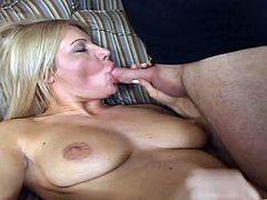 Watch the sexy blonde Christina Skye sucks on this guy's hard cock before being fucked and after being eaten out.