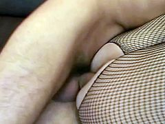 Used in fishnet body-stocking