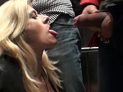 Pierced milf receives huge dongs to play with