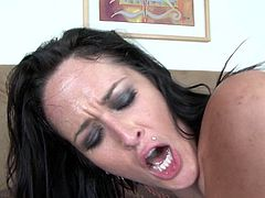 Gorgeous brunette with huge juicy melons Carmella Bing loves nothing more than a good hard cock of her lover. She takes it doggy style, and rides, too, because she likes it in every position. The way her fat ass bounces up and down guarantees his dick won't go limp. Damn, this chick fucks like no other! Don't miss this fantastic sex video!