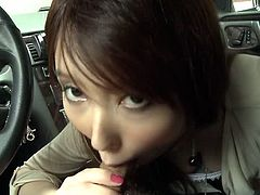 Yui Hatano's lover picks her up from work. She sucks his cock in the car and when they arrive home, they continue the fun with deep penetration in her hairy cunt.