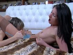 Florence A. and Madeleine are a pair of lesbians with sexy bodies and lustful desires. They go from kissing to licking each others shaven muffins to orgasm.