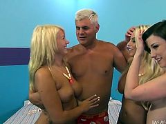 One sweet babe rides dude's face and he licks her pussy. Two nasty lesbians suck his cock and polish his balls. Just click here and enjoy watching provocative foursome sex tube movie.