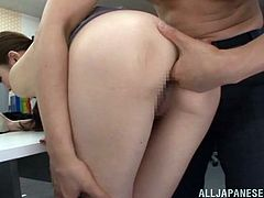 Have a look at this hardcore scene where the horny Asian babe Minami Kojima is fucked silly by one of her coworkers in the office.