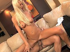 A blonde milf wearing Adam's costume and a pair of high heels is the angelic revelation with wicked movements and lusty desires from this video. Legs spread widely offer a nice view of her firm butt while bending to suck her partner's big cock. See Tanya sweating while riding dick as a reverse cowgirl!