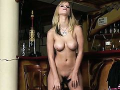 Marry Queen with gigantic hooters and clean snatch cant live a day without dildoing her love box