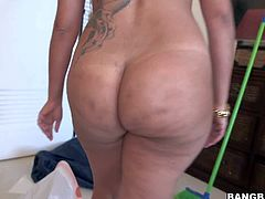 Angelina is a hot bodied cleaning lady from Cuba. This black haired juicy sexy gets paid to strip naked in front of the camera. She shows her huge boobs and phat ass for extra cash.