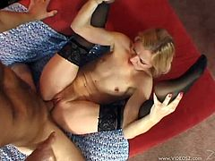 Sexy blonde Heidi Hanson gets a big cumshot and a nasty creampie after getting her hairy pussy completely drilled by a hard cock.