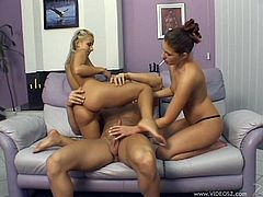 Horny babes Jenny Virgin and Candy get a good taste of their juices as they sucks this guy's hard cock right off their yummy twats.