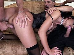 Lovely brunette porn star with a hot ass in sexy stockings and thong gives a blowjob as she is fucked doggy style before getting drilled in her anal