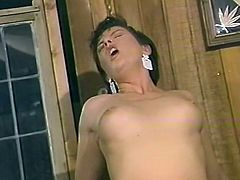 Dark and short haired filthy wench with nice boobies stands on knees and blows that hard lollicock with passion. That stud has no clue that they are recorded..Look at that dirty sex in The Classic Porn sex clip!