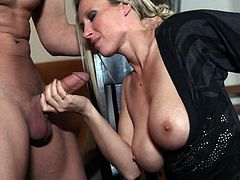 The beautiful MILF Devon Lee enjoys sucking Justice Young's hard cock and takes a rough doggystyle fuck up her sweet pussy.