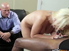 Alexis Ford is an amazing blonde milf with a husband who watches her getting fucked by a black dude. She has huge boobs and loves to get banged by black men.