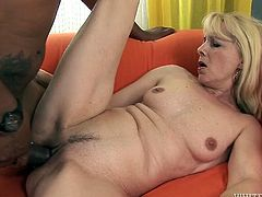 Light haired shameless granny with dumpy pussy gets attacked by horny African fellow in sideways and doggy styles hard. His staff thick cock made that old sex pot feel a bit pain...Just look at that hard interracial fuck in Fame Digital porn video!