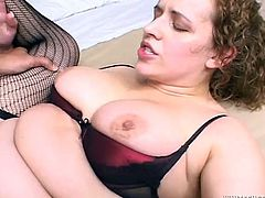 This four eyed chick is a total slut. You can tell it by the way she is sucking on her lover's stiff cock. Horny whore sucks her lover's dick passionately paying special attention to his balls.