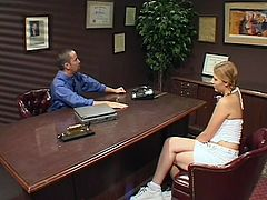 Watch this slutty blonde end up with a big mouthful of semen after being fucked by this guy in an office as you check out her sexy body.