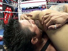 Any lover of sporty chicks needs to check out this awesome sex video! Hot boxer Daisy Marie sucker punches her opponent and then she goes straight for his swollen cock. She sucks his dick in 69 position. Then she fucks him on top.