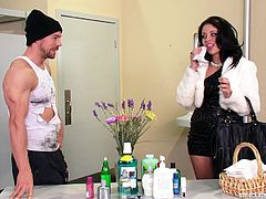 Have a look at this hardcore scene where the slutty Madelyn Monroe is fucked silly by a hobo with a large cock in a public restroom where she ends up with a messy facial.