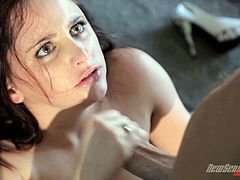 Get a load of this erotic hardcore scene where the beautiful redhead Nadine Sage ends up with a messy facial after sucking and fucking a large cock.