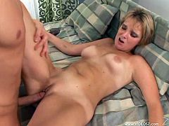 Light-haired bitch blows cock before getting her twat screwed in a sideways pose and doggystyle. Then she rides that tool on top and gets fucked mish until getting pussy creampie.