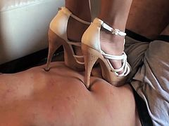 Things are quite naughty as lusty gal enjoys domination to her obedient partner in full foot fetish scene