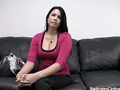 Winter is a brunette chick who giggles a lot. She takes the casting agent's cock in her ass hole and his cum goes inside the same hole. It drips in her hand.