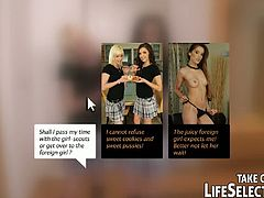 These hot scenes with sexy babes getting fucked exist in more than one variant. The action is controlled by the user's choice. Hard pussy banging and lesbian action are included.
