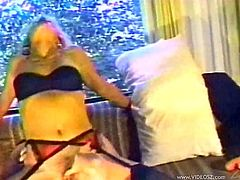 This gorgeous amateur MILFs take care of this guy's big hard cock in this amazingly sexy threesome and end up getting their mouths jizzed.