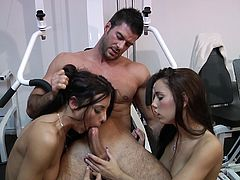 Sexy ass babes Shana Lane and Roxy Lane get drilled by their fitness instructor in the gym and ends up getting his hot cum in their filthy mouths.