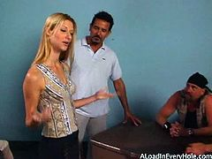 Stunning teenage blondie Crystal Ray is about to get hammered by three horny guys. They all switch turns to fuck her in all holes and shoot big loads inside.