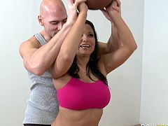 Busty bombshell Sophia Lomeli lets Johnny Sins fondle her big boobs