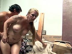 Hussy blonde gets her pussy fucked doggy style and then missionary one. She moans with pleasure while hard dick invades her hairy pussy.