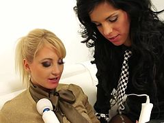 Gorgeous sluts Alyssia Loop and Susan Snow, wearing stockings, are having lesbian fun indoors. They rub each other's pussies with a dildo and seem to be unable to stop.