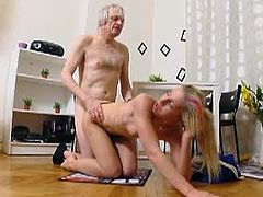 Nelya is a young skank who doesn't refuse this dude's old cock. She even takes it inside her ass hole after he penetrates her pussy and she gobbles on his dick.