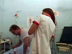 Pervert doctor has some dirty plans for these two. As soon as these hot chicks check in on the room he immediately shows her fetishes by pissing on their tight body.