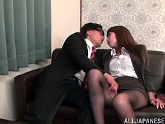 Witness this reality video where a Japanese babe, with natural tits wearing nylon pantyhose, gets fucked hard in different positions.
