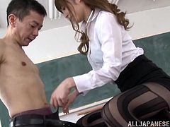 Japanese teacher Misa Yuki shows her footjob skills to her boss